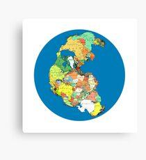 Pangea Political World Map Canvas Print