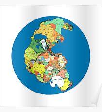 Pangaea Politische Weltkarte Poster