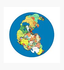 Pangea Political World Map Photographic Print