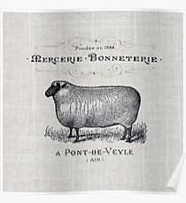 Primitive burlap french country farmhouse chic vintage sheep Poster