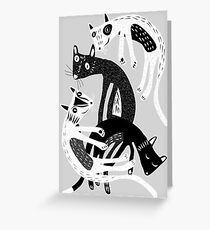 4 cats Greeting Card