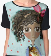 Doll old washed colour Polka Dots Women's Chiffon Top