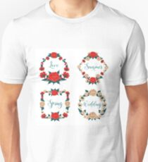 Flowers Set. Floral Frames. Red Roses. White Roses. Greeting Cards Decoration. Wreath of Flowers. Wedding Decoration. Valentine's Day Decoration Unisex T-Shirt