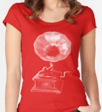 gramophone t-shirt on dark Women's Fitted Scoop T-Shirt