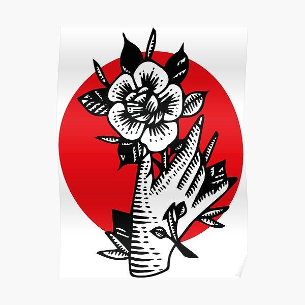 Rose - tattoo design Poster