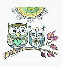 Couple Owls Love Drawing, Owls illustration Animal Birds art Photographic Print