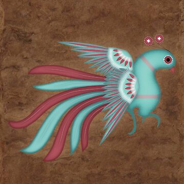 Pajarito #1   Mexican Amate Style Bird by thinoquinn