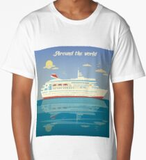 Around the World Travel Banner with Cruise Liner Long T-Shirt