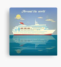 Around the World Travel Banner with Cruise Liner Canvas Print