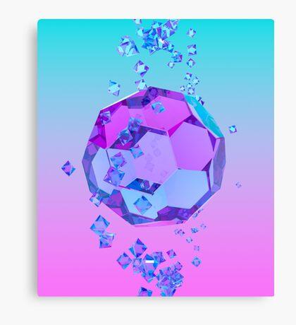 Orbiting Gems Cyan Pink - 3D Design Canvas Print