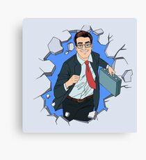 Success in Business Pop Art Concept. Successful Businessman Braking the Wall Canvas Print