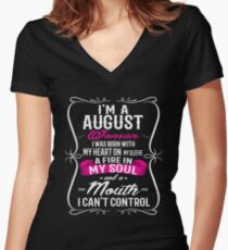 I'm a august woman Women's Fitted V-Neck T-Shirt