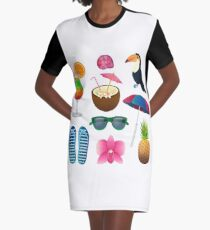 Tropical Elements Set: Cocktails, Flowers, Sunglasses, Bird, Pineapple Graphic T-Shirt Dress