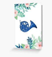 Blue French Horn Floral Illustration Greeting Card