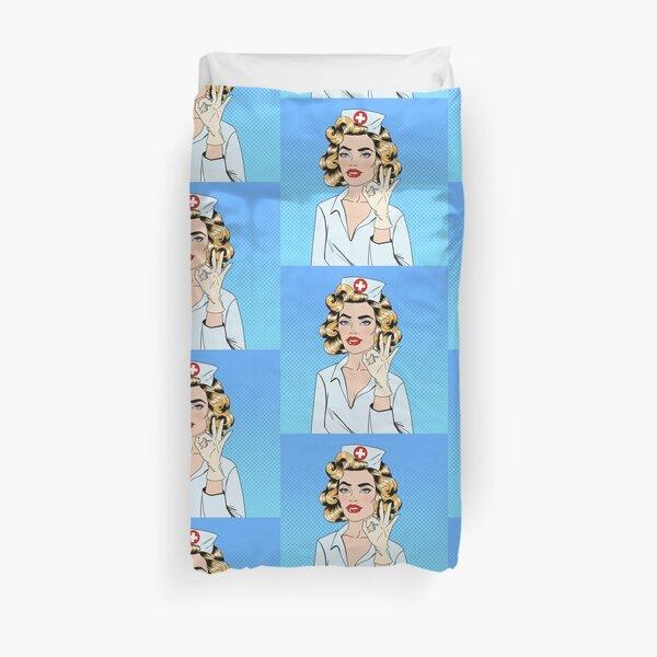 Pretty Nurse in Pop Art Style Gesturing Okay Duvet Cover