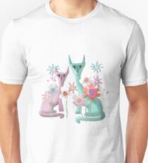 Felines in Flowers Unisex T-Shirt