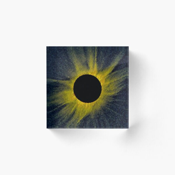 Total Eclipse of the Sun Generative Astronomical Art Acrylic Block