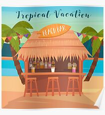 Tropical Vacation Banner with Beach Bar and Palm Trees Poster