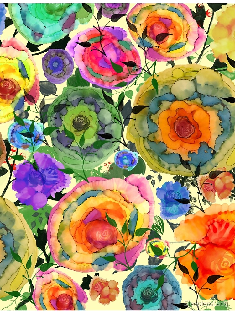alcohol ink-Sharon's flowers pen and ink, alcohol ink, by SleeplessLady