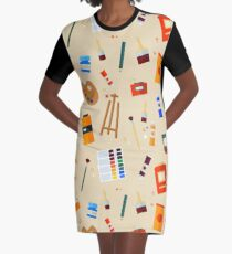 Tools and Materials for Creativity and Painting Seamless Pattern Graphic T-Shirt Dress