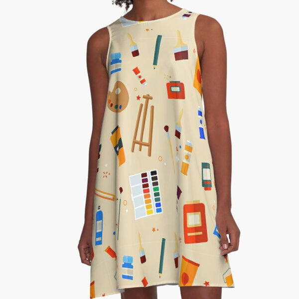 Tools and Materials for Creativity and Painting Seamless Pattern A-Line Dress