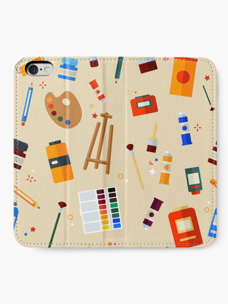 Alternative Ansicht von Werkzeuge und Materialien für Kreativität und Malerei Seamless Pattern iPhone Flip-Case