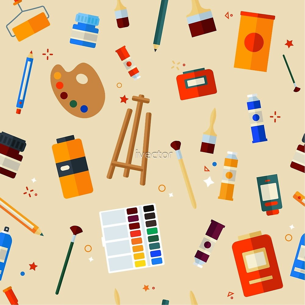 Tools and Materials for Creativity and Painting Seamless Pattern by ivector