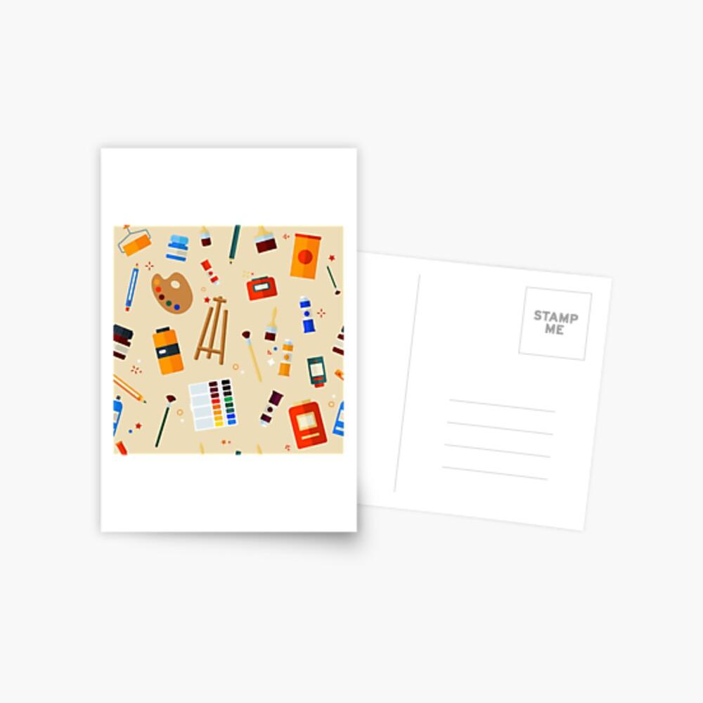 Werkzeuge und Materialien für Kreativität und Malerei Seamless Pattern Postkarte