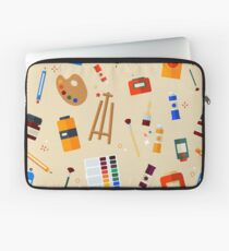 Tools and Materials for Creativity and Painting Seamless Pattern Laptop Sleeve