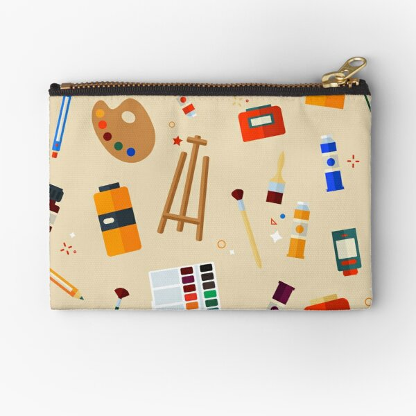 Tools and Materials for Creativity and Painting Seamless Pattern Zipper Pouch