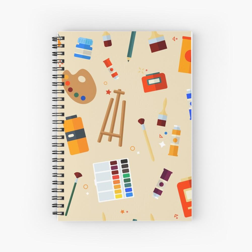 Werkzeuge und Materialien für Kreativität und Malerei Seamless Pattern Spiralblock