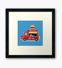 Street Food Concept with Burger Food Truck and Seller Framed Print