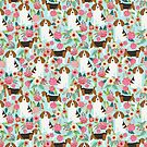 Beagle dog pattern floral flowers portrait pattern cute gifts for dog lover dog breeds by PetFriendly by PetFriendly