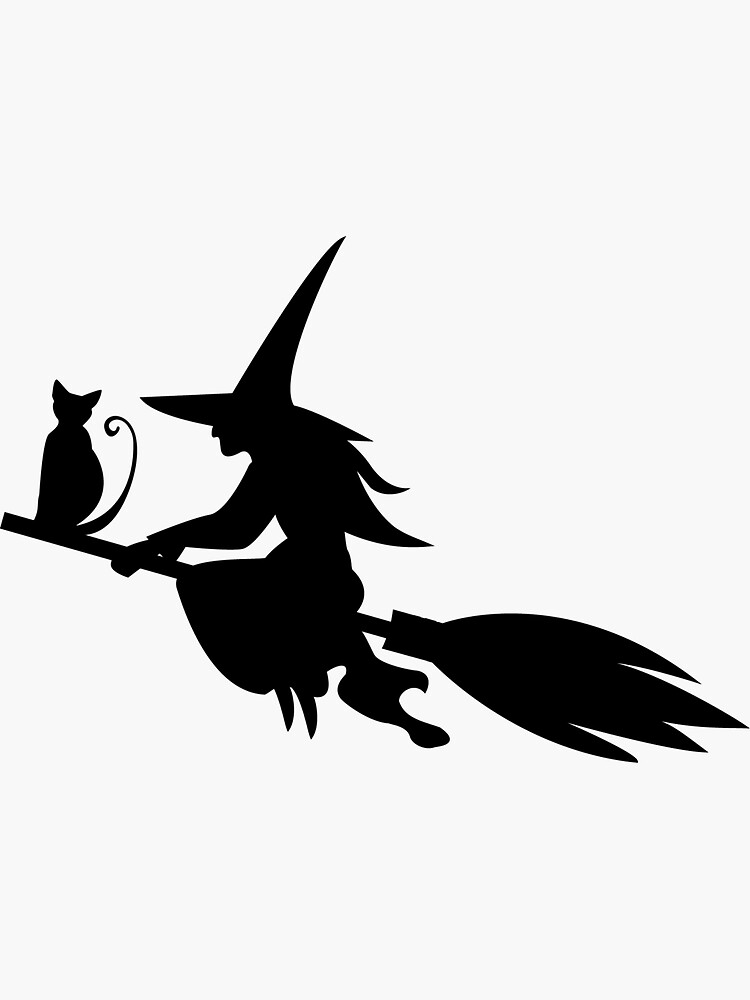 Silhouette of the witch cat flying on the broom by Kioto