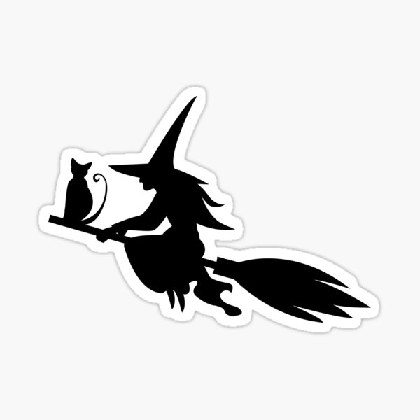 Silhouette of the witch cat flying on the broom Sticker