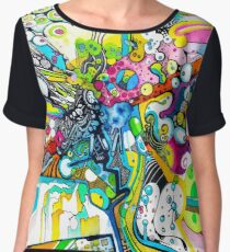 Tubes of Wonder - Abstract Watercolor + Pen Illustration Women's Chiffon Top