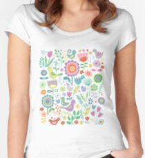 Birds & Blooms - on white Women's Fitted Scoop T-Shirt
