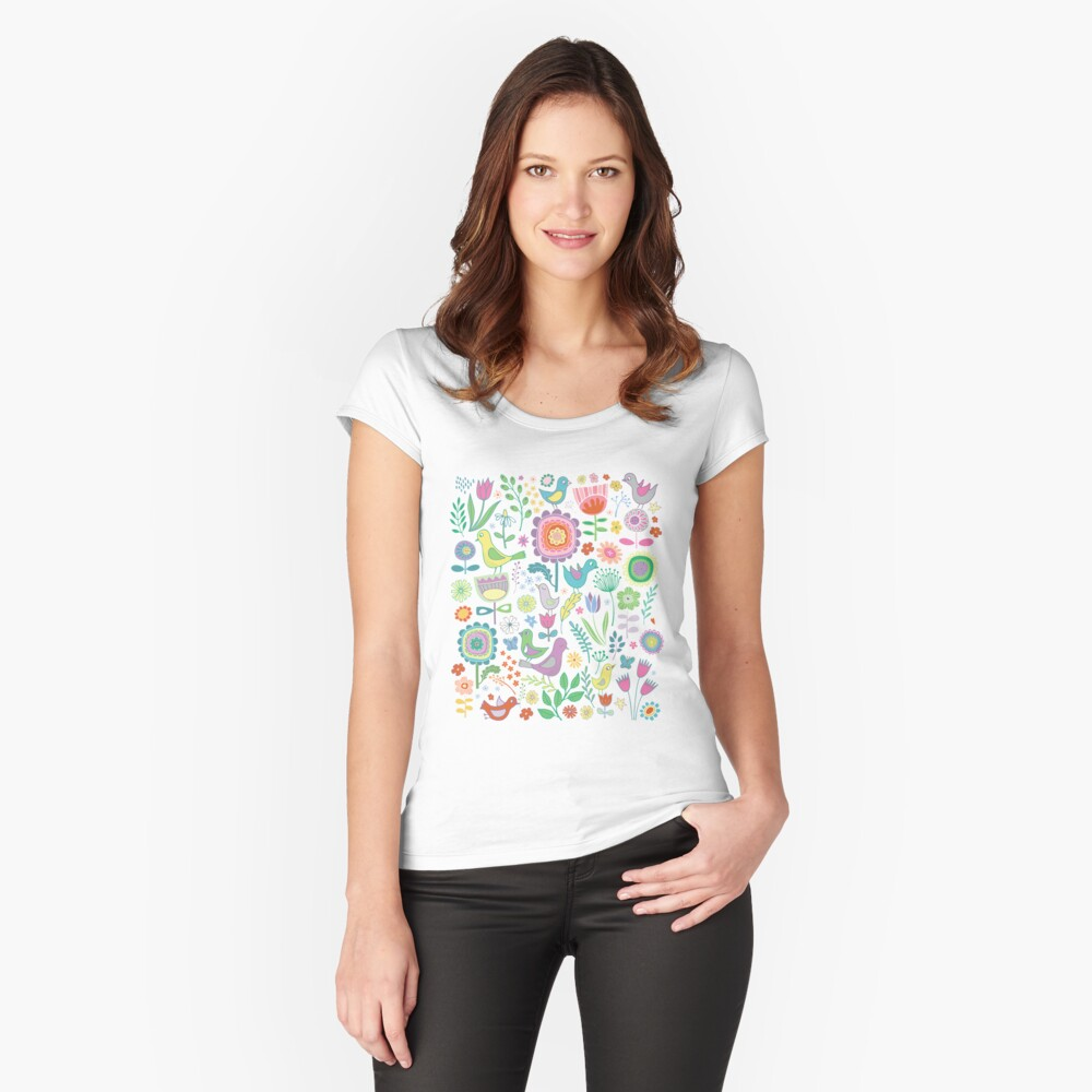 Birds and Blooms - on white - pretty floral bird pattern by Cecca Designs Fitted Scoop T-Shirt