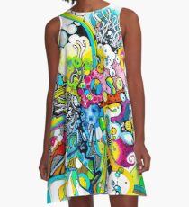 Tubes of Wonder - Abstract Watercolor + Pen Illustration A-Line Dress