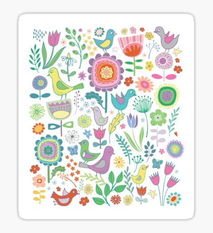 Birds and Blooms - on white - pretty floral bird pattern by Cecca Designs Sticker