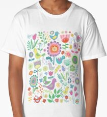 Birds & Blooms - on white Long T-Shirt
