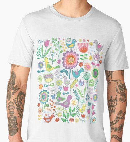 Birds and Blooms - on white - pretty floral bird pattern by Cecca Designs Men's Premium T-Shirt