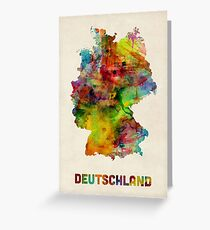 Germany Watercolor Map (Deutschland) Greeting Card