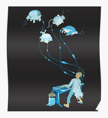 Mad Animal Pianist - Remastered Digital Illustration Poster