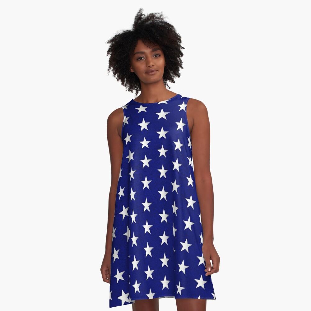 Amerikanische Flagge Sterne Muster A-Linien Kleid