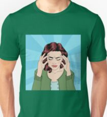 Woman has a Headache. Woman Stress. Stress at Home. Stress at Work. Exhausted Woman. Woman in depression. Painful Feeling. Pop Art Banner T-Shirt