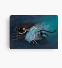 Flying on my cat Canvas Print