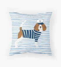 Beagle dog pattern nautical sailor summer cute gifts for dog lover dog breeds by PetFriendly  Throw Pillow