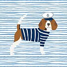 Beagle dog pattern nautical sailor summer cute gifts for dog lover dog breeds by PetFriendly  by PetFriendly