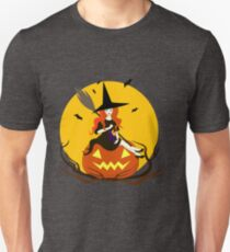 Beautiful sorceress isolated sits on pumpkin,In hand broom,on knees cat. Unisex T-Shirt
